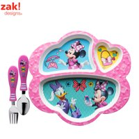 Disney Minnie Mouse Kids Divided Plate and Flatware Set , 3-piece set