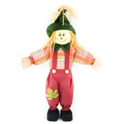 "24"" Red Boy Scarecrow with Plaid Dress and Straw Hair Halloween Decoration"