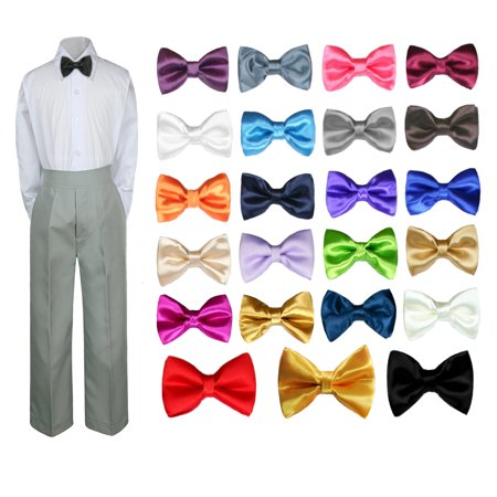 - 3PC Shirt Gray Pants Bow tie Set Baby Boy Toddler Kid Formal Suit Sm-7