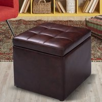 Costway 16''Cube Ottoman Pouffe Storage Box Lounge Seat Footstools with Hinge Top brown