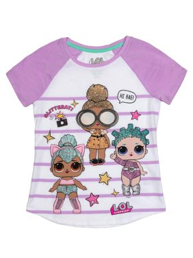 LOL Surprise Glitter Embroidered Striped Graphic Raglan T-Shirt(Little Girls & Big Girls)