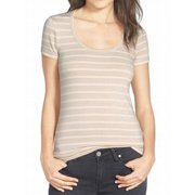 8e0fa827 Caslon NEW Beige Striped Ivory Women's XL Scoop Neck T-Shirt Basic Tee