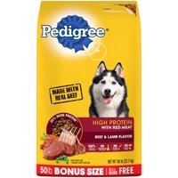 PEDIGREE High Protein Beef and Lamb Flavor Adult Dry Dog Food, 50 Pound Bonus Bag