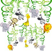 e92456e545e Supla 30 pcs Jungle Animals Hanging Swirl Decorations Green Safari Party  Forest Animal Theme Supplies for