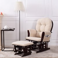 Costway Baby Nursery Relax Rocker Rocking Chair Glider & Ottoman Set w/ Cushion Beige