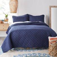 Better Homes & Gardens Navy Blue Diamond Crochet Quilt Set