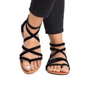 8ca36e4ffd Women Gladiator Flat Sandals Casual Summer Beach Y-strap Lace Up Ankle Shoe  Size