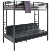 DHP Jasper Premium Twin Over Futon Bunk Bed with Black Faux Leather Futon Mattress, Gunmetal