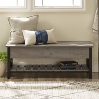 "48"" Rustic Modern Farmhouse Storage Bench with Shoe Shelf - Multiple Finishes"