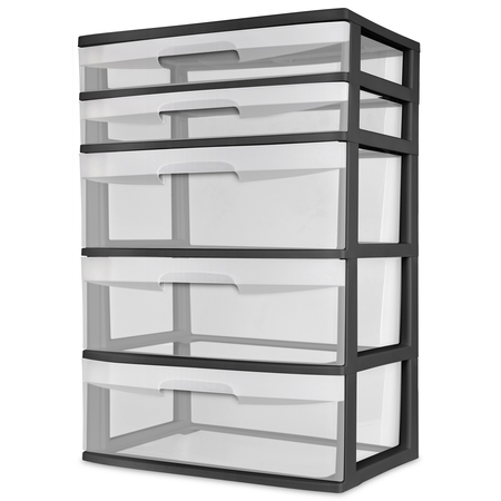 - Sterilite 5 Drawer Wide Tower, Black