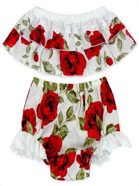 Toddler Infant Baby Girls Floral Off Shoulder Tops+Bottoms Briefs 2pcs Outfits Set Clothing