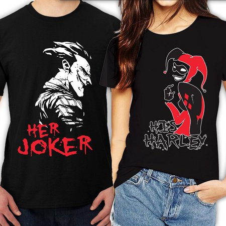 Funny Famous Couples Halloween (Her Joker His Harley Halloween Couple Matching Funny Cute T-ShirtsHer Joker-Black)