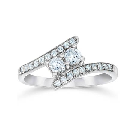 Genuine Pear Diamond Solitaire (1/2Ct Forever Us Genuine Diamond Two Stone Ring White Gold Engagement Solitaire )