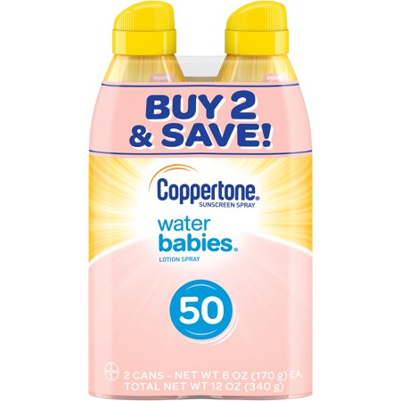 Coppertone WaterBABIES Sunscreen Spray SPF 50, Twin Pack (6 oz each)