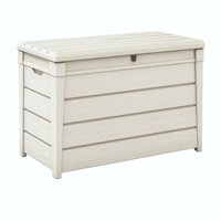 Keter Brightwood 120 Gallon Deck Box with Pool Kit, Resin Outdoor Patio Storage, Oasis White