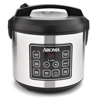 Aroma Stainless Steel 20 Cup Programmable Rice Cooker & Steamer, 4 Piece