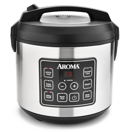 Aroma Stainless Steel 20 Cup Programmable Rice Cooker & Steamer, 4