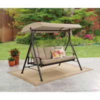 Mainstays Belden Park 3-Person Canopy Porch Swing Bed