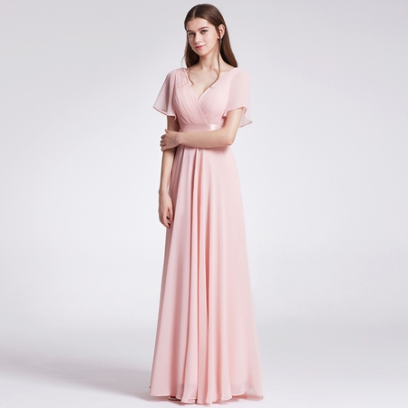 Ever-Pretty Womens Formal Evening Floor-Length Short Sleeve Mother of the Bride Maxi Dresses for Women 09890 Pink US4