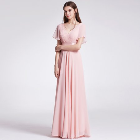 Ever-Pretty Womens Formal Evening Floor-Length Short Sleeve Mother of the Bride Maxi Dresses for Women 09890 Pink US4 (Coral Maxi Dresses For Women)