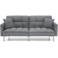 Best Choice Products Convertible Futon Linen Tufted Split Back Couch w/ Pillows - Dark Gray