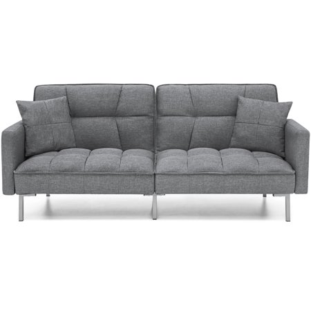 Best Choice Products Convertible Futon Linen Tufted Split Back Couch w/ Pillows - Dark Gray ()