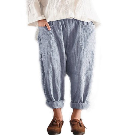 Women Cotton Linen Elastic Waist Loose Pant Pocket Trousers Casual Harem Striped