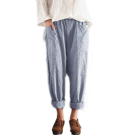 Women Cotton Linen Elastic Waist Loose Pant Pocket Trousers Casual Harem Striped Bi Stretch Welt Pocket Pants