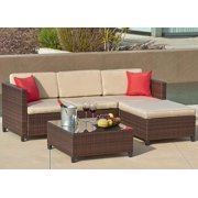 Suncrown Outdoor Furniture Sectional Sofa (5-Piece Set) All-Weather Brown Checkered Wicker with Brown Seat Cushions & Modern Glass Coffee Table | Patio, Backyard, Pool | Incl. Waterproof Cover