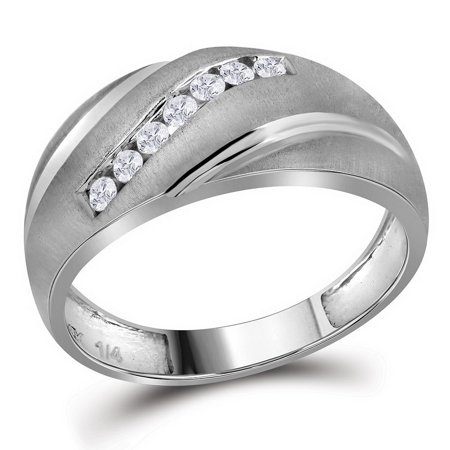 10k White Gold Mens Masculine Channel-set Round Natural Diamond Brushed-satin Wedding Band (.25 cttw.) size- 8.5