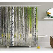 Birch Tree Shower Curtain Peaceful Late Summer Woodland Trunks Leaves Foliage Serene Tranquil Fabric