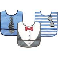 Luvable Friends Baby Boy and Girl PEVA Bib, 3-Pack - Boy Dress Up