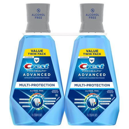 Crest Pro-Health Advanced Mouthwash, Alcohol Free, Multi-Protection, Fresh Mint, 1 L (33.8 fl oz), Pack of 2