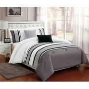 Beautiful 5 Pc Grey White And Black Comforter Bedding Set With Burnout Lace Design