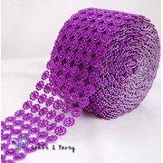 32a9efa76fc57 Diamond Flower Shape Mesh Wrap Roll Faux Rhinestone Crystal Ribbon 4