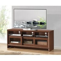 """Techni Mobili Modern TV Stand with Storage for TVs Up To 65"""", Hickory (RTA-8811-HKY)"""