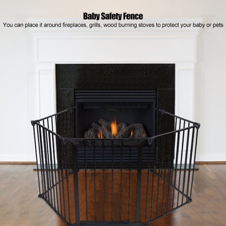 Fire Safety Tips Kids (TOPINCN Baby Pet Safety Fence,Metal Safety Gate Fireplace Stove Fence Protection Doors for Baby Toddlers Kids Pets )