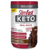 SlimFast Keto Meal Replacement Shake Powder, Fudge Brownie Batter, 11.01oz. Canister (10 Servings)