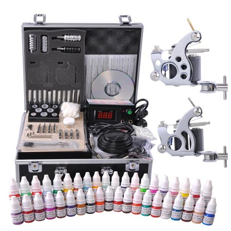 Complete Tattoo Kit 2 Machine Guns 10 Wrap 40 Color Inks LCD Power Supply Foot Switch Equipment Set with Carry