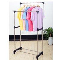 Ktaxon Double Heavy Duty Rail Portable Clothes Hanger Rolling Garment Rack Adjustable