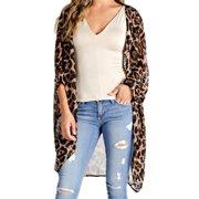 90594acd74aef Women Loose Leopard Print Kimono Long Sleeve Open Front Cardigans