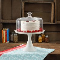 """The pioneer woman timeless beauty 10"""" milk white glass cake stand"""