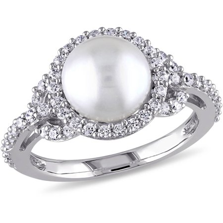 8.5-9mm White Cultured Freshwater Pearl and 1 Carat T.G.W Cubic Zirconia Halo Sterling Silver Ring Cubic Zirconia Birthstone Flip Flop