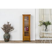 Logan Weathered Oak Linen Multi Shelf Cabinet With One Gl Door And Drawer
