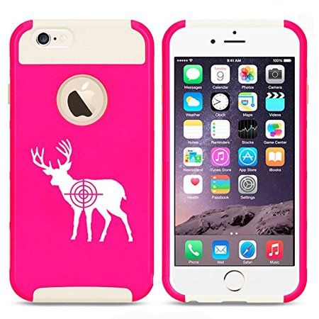 Bullseye Hunting Combo (Apple iPhone SE Shockproof Impact Hard Soft Case Cover Deer with Bullseye Hunting (Hot Pink-White),MIP)
