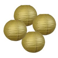 "Just Artifacts 16"" Gold Chinese Japanese Paper Lanterns (Set of 4) - Decorative Round Chinese/Japanese Paper Lanterns for Birthday Parties, Weddings, Baby Showers, and Life Celebrations!"