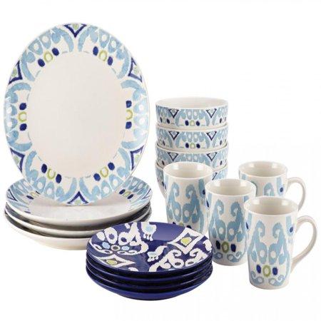 Rachael Ray Dinnerware Ikat 16-Piece Stoneware Dinnerware Set, Blue Print ()