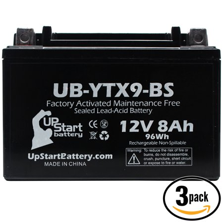 3-Pack UpStart Battery Replacement 2012 Triumph Street Triple, R 675CC Factory Activated, Maintenance Free, Motorcycle Battery - 12V, 8Ah, UB-YTX9-BS