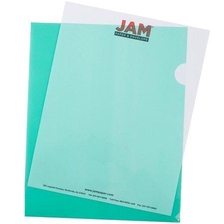 JAM Paper Plastic Sleeves, 9 x 11 1/2, Green, (Pack Paper Sleeves)