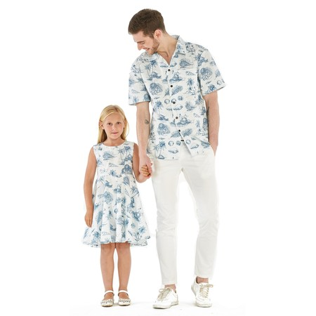 Matching Father Daughter Hawaiian Dance Shirt Vintage Dress Vintage Tropical Toile Men XL Girl 8 - Tropical Shirts
